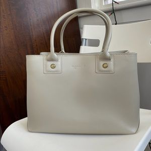 Agnes B New York Cow Leather White Tote